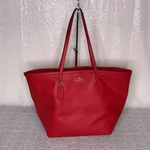 COACH Red Large Tote Open Top